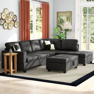 maumee 103 50 wide faux leather sectional with ottoman