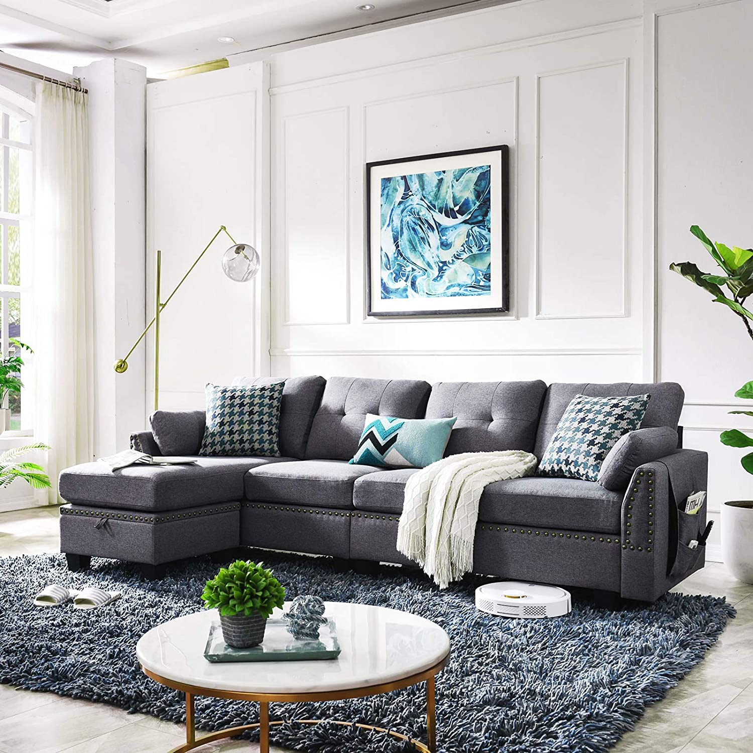 honbay reversible sectional sofa couch for living room l shape sofa couch 4 seat sofas sectional for apartment dark grey