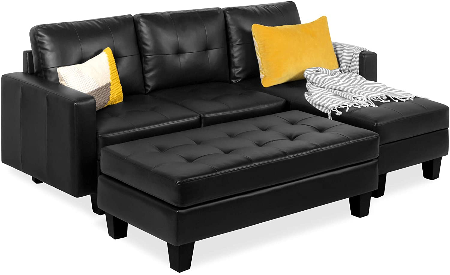 best choice products tufted faux leather 3 seat l shape sectional sofa couch set w chaise lounge ottoman coffee table bench black