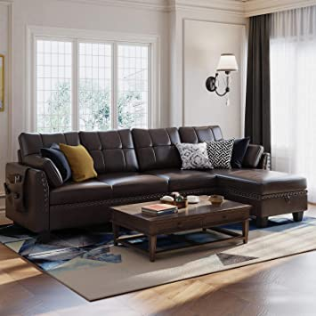 honbay faux leather sectional sofa couch reversible l shaped couch sofa 4 seat sofa sectional couch for small apartment