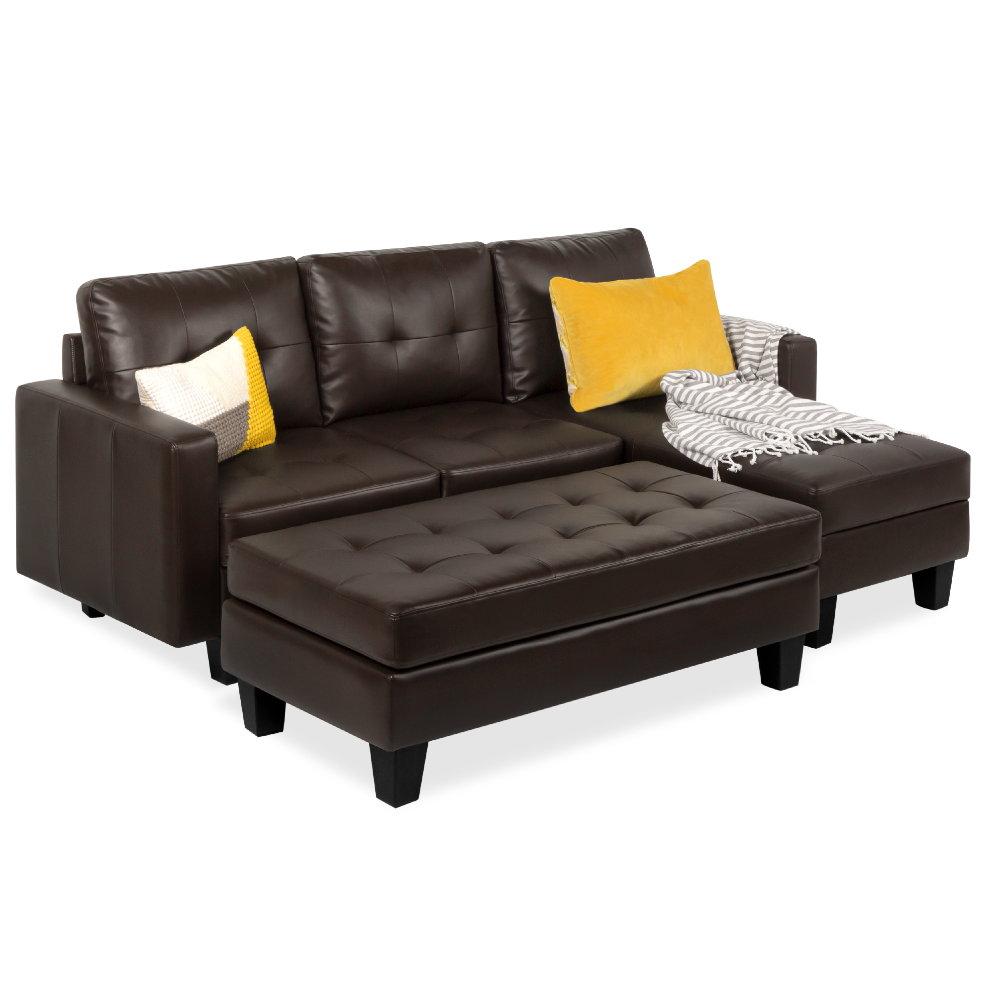 best choice products 3 seat l shape tufted faux leather sectional sofa couch set w chaise lounge ottoman bench black