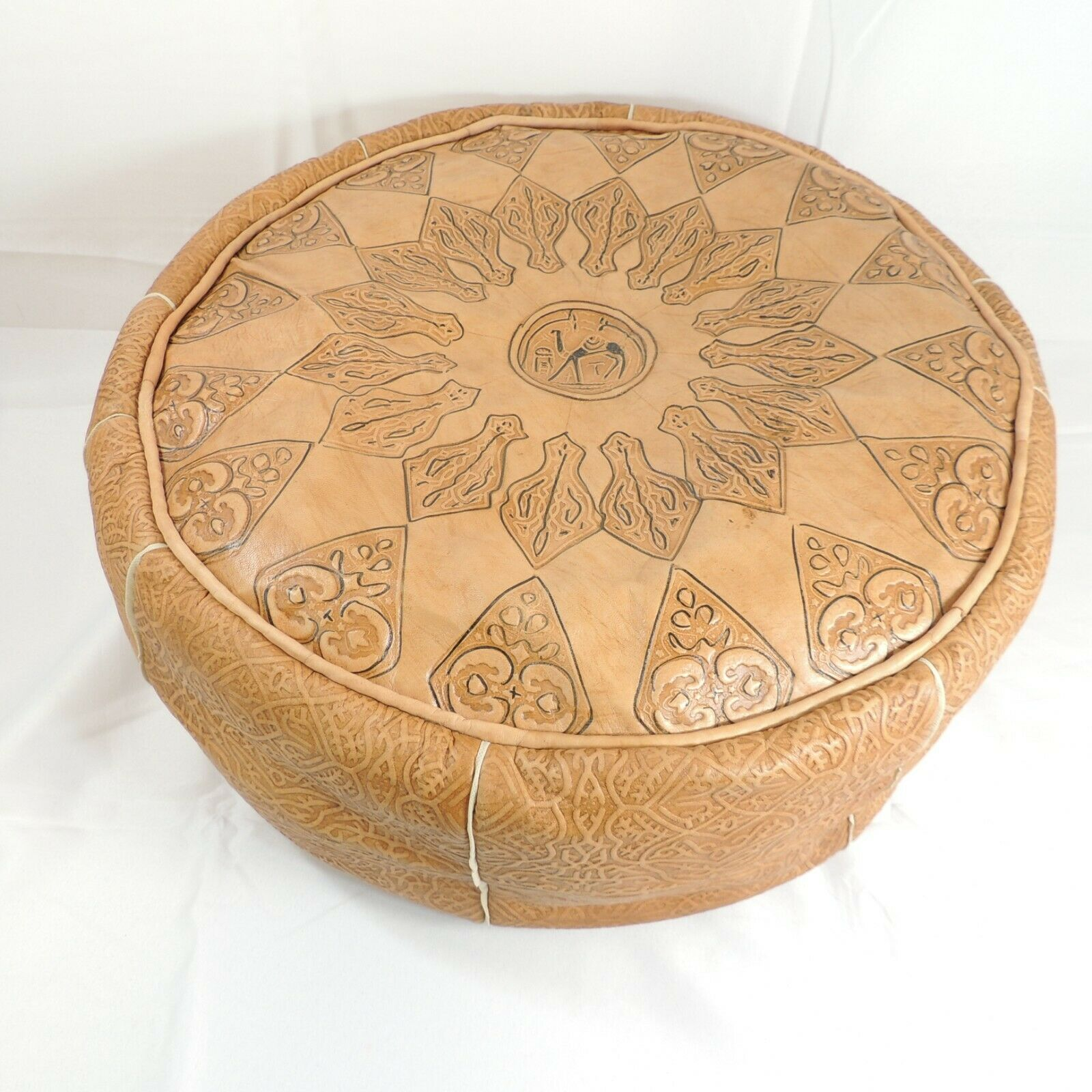 moroccan pouf tan camel leather hassack ottoman or seat round 22 small tear